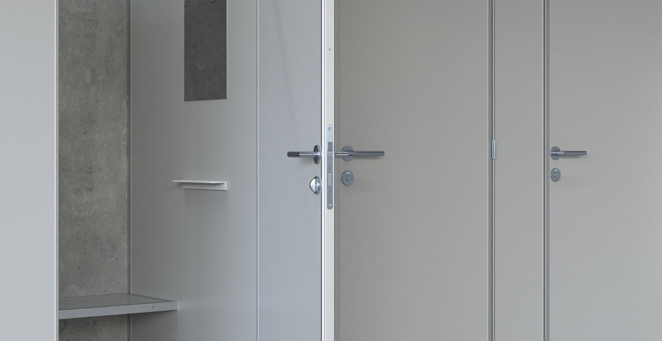 bau-set Umkleidekabinen – Türdrücker Edelstahl (L-Form)