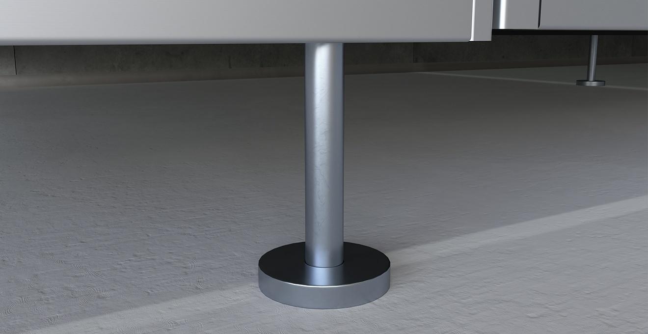 bau-set WC Trennwände – Fuß Edelstahl